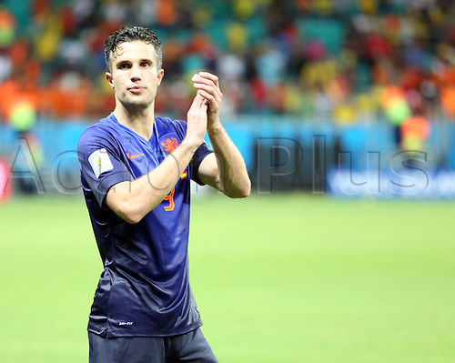 13.06.2014. Salvador, Brazil. World Cup finals 2014. Spain versus The Netherlands. Van Persie celebrating the win by Holland at end of match