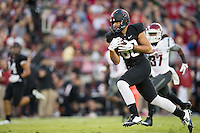Stanford, CA -- October 10, 2014: Stanford plays Washington State at Stanford Stadium. Stanford defeated Washington State 34-17.  Eric Cotton catches a touchdown pass.