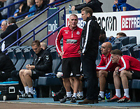 Bolton Wanderers' U18's coach Nicky Spooner (left) with first team manager Phil Parkinson <br /> <br /> Photographer Andrew Kearns/CameraSport<br /> <br /> The EFL Sky Bet Championship - Bolton Wanderers v Coventry City - Saturday 10th August 2019 - University of Bolton Stadium - Bolton<br /> <br /> World Copyright © 2019 CameraSport. All rights reserved. 43 Linden Ave. Countesthorpe. Leicester. England. LE8 5PG - Tel: +44 (0) 116 277 4147 - admin@camerasport.com - www.camerasport.com