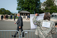 Susan Zeier, of Sandusky Ohio, whose son in-law Army SFC Heath Robinson died from complications due to exposure in burn pits, shouts at GOP members of Congress as they pass by following a press conference regarding legislation to assist veterans exposed to burn pits, outside the US Capitol in Washington, DC., Tuesday, September 15, 2020. <br /> Credit: Rod Lamkey / CNP /MediaPunch