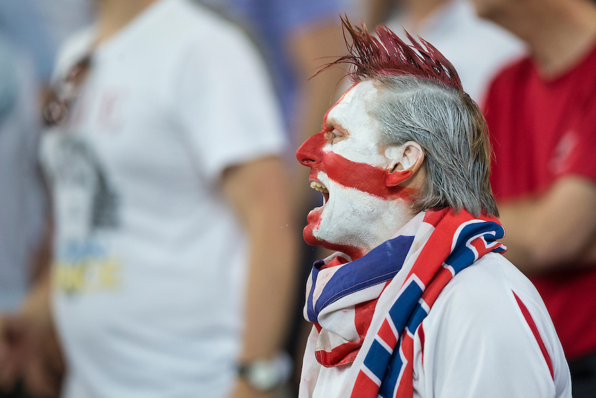 A colourful England fan during the game<br /> <br /> Photographer Craig Mercer/CameraSport<br /> <br /> International Football - 2016 UEFA European Championship - Group B - England v Russia - Saturday 11th June 2016 - Stade Velodrome, Marseille - France <br /> <br /> World Copyright &copy; 2016 CameraSport. All rights reserved. 43 Linden Ave. Countesthorpe. Leicester. England. LE8 5PG - Tel: +44 (0) 116 277 4147 - admin@camerasport.com - www.camerasport.com