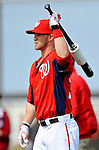 25 February 2012: Washington Nationals' outfielder Bryce Harper awaits his turn in the batting cage during the first full squad Spring Training workout at the Carl Barger Baseball Complex in Viera, Florida. Mandatory Credit: Ed Wolfstein Photo