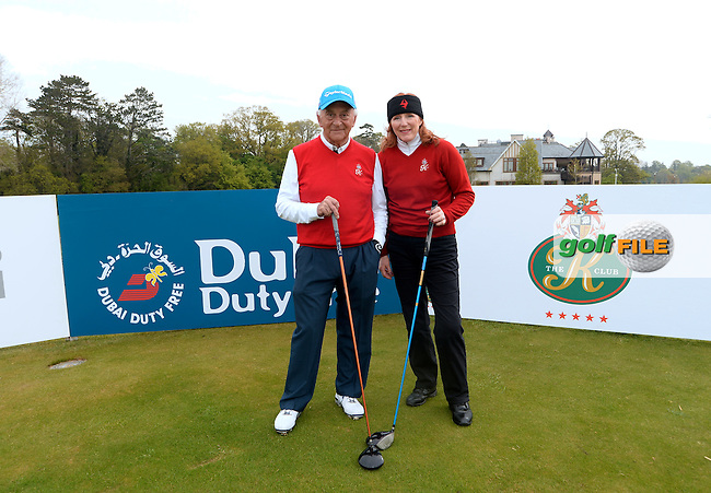 9 May 2016; David Adamson and Edel Decies, from The K Club.  Dubai Duty Free Irish Open - All-Ireland Final for Pro-Am Qualifying Competition. The K Club Smurfit Course, Straffan, Co. Kildare, Ireland. <br /> Picture: Golffile | Caroline Quinn<br /> <br /> All photo usage must carry mandatory copyright credit (&copy; Golffile | Caroline Quinn)