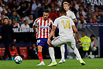 Angel Martin Correa of Atletico de Madrid and Carlos Henrique Casimiro of Real Madrid during La Liga match between Atletico de Madrid and Real Madrid at Wanda Metropolitano Stadium{ in Madrid, Spain. {iptcmonthname} 28, 2019. (ALTERPHOTOS/A. Perez Meca)