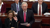In this image from United States Senate television, United States Senate Majority Leader Mitch McConnell (Republican of Kentucky) announces the schedule for questioning the managers during the impeachment trial of US President Donald J. Trump in the US Senate in the US Capitol in Washington, DC on Tuesday, January 28, 2020.<br /> Mandatory Credit: US Senate Television via CNP