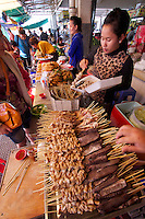 Phnom Penh, Cambodia. Central Market. Snacks: skewers.