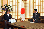 July 23, 2018, Tokyo, Japan - Japanese actor Ryotaro Sugi (R) talks with Foreign Minister Taro Kono as he is appointed to the special goodwill ambassador to Vietnam and ASEAN at Kono's office in Tokyo on Monday, July 23, 2018. Sugi will promote the second Japan-ASEAN musical festival in Tokyo in October ro celebrate the 45th anniversary of friendship between Japan and ASEAN.      (Photo by Yoshio Tsunoda/AFLO) LWX -ytd-