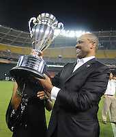 DC United  Co-managing Partner Victor MacFarlane lifts the Lamar Hunt US Open Cup, DC United defeated The Charleston Battery 2-1, to win the Lamar Hunt U.S. Open Cup at RFK Stadium in Washington DC, Saturday September 3, 2008.