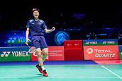 17th March 2018, Arena Birmingham, Birmingham, England; Yonex All England Open Badminton Championships; Shi Yuqi (CHN) celebrates winning his semi-final match against Son Wan Ho (KOR)