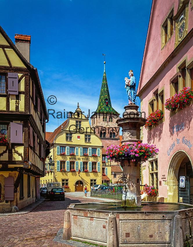 France, Alsace, Haut-Rhin, Turckheim: with Townhall and church Ste-Anne | Frankreich, Elsass, Haut-Rhin, Turckheim: mit Rathaus und Kirche Ste-Anne