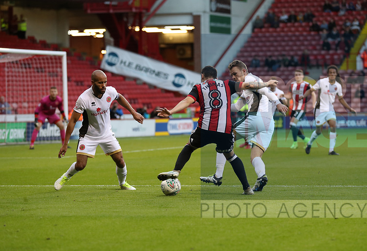 Nathan Thomas of Sheffield Utd in action during the Carabao Cup round One match at Bramall Lane Stadium, Sheffield. Picture date 9th August 2017. Picture credit should read: Jamie Tyerman/Sportimage