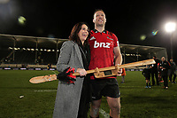 Double centurion Wyatt Crockett after the Super Rugby match between the Crusaders and Highlanders at Wyatt Crockett Stadium in Christchurch, New Zealand on Friday, 06 July 2018. Photo: Martin Hunter / lintottphoto.co.nz