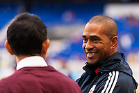 New York Red Bulls assistant coach Robin Fraser talks with Colorado Rapids head coach Pablo Mastroeni. The New York Red Bulls and the Colorado Rapids played to a 1-1 tie during a Major League Soccer (MLS) match at Red Bull Arena in Harrison, NJ, on March 15, 2014.