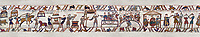 11the Century Medieval Bayeux Tapestry - After arriving in England. Scene 41 - Wadar Supervises Williams cooks. Scene 42 - Williams servants roast meat and fowl. Scene 43 & 44 -  William at a banquet with his Barons and Bishop Odon. Scene 45 - Fortified camp built by Williams men.