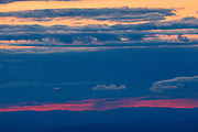 Appalachian Trail - Silhouette of mountains at dusk from Mount Washington in the White Mountains, New Hampshire USA.