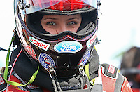 Aug. 1, 2014; Kent, WA, USA; NHRA funny car driver Courtney Force during qualifying for the Northwest Nationals at Pacific Raceways. Mandatory Credit: Mark J. Rebilas-