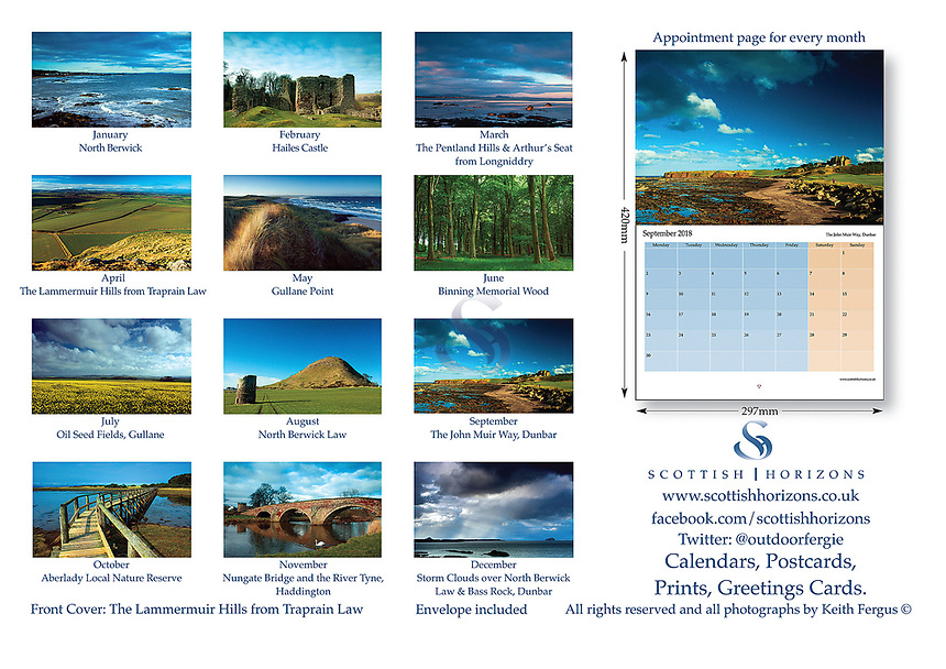 The East Lothian Calendar is now into its 6th year of production. It is delivered A4 in size but opens out to A3 meaning the 12 images of the coastline can be viewed in all their stunning detail while the date pads provide loads of space to write. As always the calendar comes with its own envelope if you are wanting to send it to family or a friend. The price of the calendar is £6.50 which includes P+P within the UK. Please contact me if order is outwith the UK.