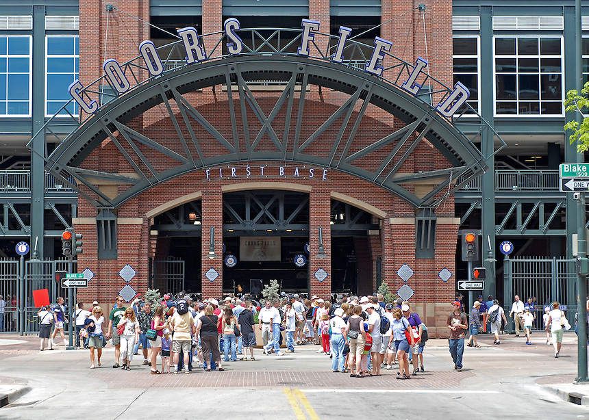 08 June 2008: Fans line up outside of the 1st base entrance (Gate C) along Blake Street before a regular season game between the Milwaukee Brewers and the Colorado Rockies at Coors Field in Denver, Colorado.*****For editorial use only*****