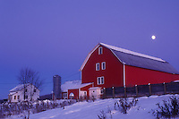 full moon, red barn, Vermont, VT, Full moon over red barn and white farmhouse in the evening in Albany in the winter.