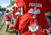 PSHRINE07P<br /> A woman, who declined to identify herself, looks at some Polish memorabilia for sale during the 50th annual Polish American family festival and country fair at the National Shrine of Our Lady of Czestochowa Sunday September 6, 2015 in Doylestown, Pennsylvania.  (William Thomas Cain/For The Inquirer)