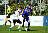Action from the 2018 Men's Central League football match between Miramar Rangers and Napier City Rovers at David Farrington Park in Wellington, New Zealand on Sunday, 23 July 2017. Photo: Dave Lintott / lintottphoto.co.nz