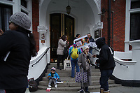 Embassy of Ecuador, London<br /> Amid speculation in the media, demonstrators wait outside the Embassy of Ecuador in anticipation of Julian Assange's expulsion from the premises.  London, England on 06 April 2019.<br /> CAP/SDL<br /> ©Stephen Loftus/Capital Pictures