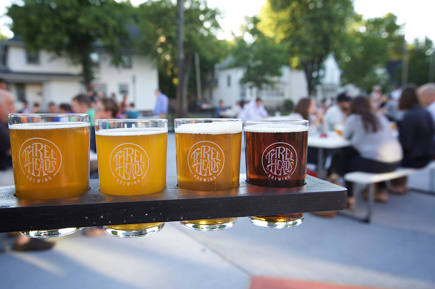 Rochester, NY - June 23, 2016: The newly opened Three Heads Brewing features a beer garden, performance space and production facility.<br /> CREDIT: Clay Williams.<br /> <br /> &copy; Clay Williams / claywilliamsphoto.com