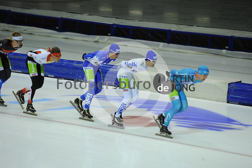 SCHAATSEN: HEERENVEEN: 25-10-2014, IJsstadion Thialf, Marathonschaatsen, KPN Marathon Cup 2, Sam Boon (#12), Evert Hoolwerf (#21), Mats Stoltenborg (#44), Bob de Vries (#1), ©foto Martin de Jong