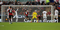 The disallowed goal scored by Junior Stanislas of Bournemouth (3rd R) during the Barclays Premier League match between Swansea City and Bournemouth at the Liberty Stadium, Swansea on November 21 2015