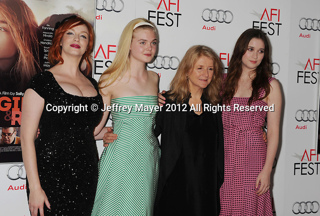 HOLLYWOOD, CA - NOVEMBER 07: Christina Hendricks, Elle Fanning, Sally Potter, Alice Englert arrive at the 'Ginger And Rosa' special screening during AFI Fest 2012 at Grauman's Chinese Theatre on November 7, 2012 in Hollywood, California.