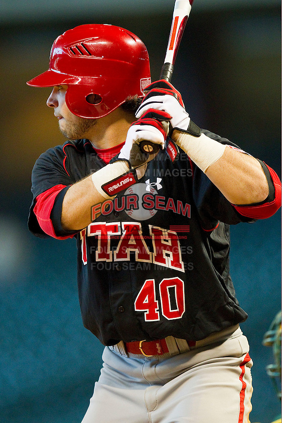 Gavin Green #40 of the Utah Utes at bat against the Baylor Bears at Minute Maid Park on March 5, 2011 in Houston, Texas.  Photo by Brian Westerholt / Four Seam Images