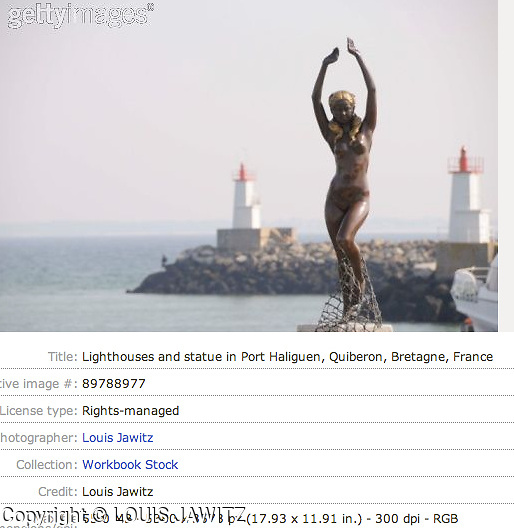 Lighthouses and statue in Port Haliguen, Quiberon, Bretagne, Franc