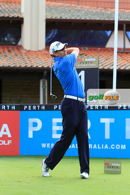Jason Norris (AUS) on the 1st tee during Round 1 of the ISPS HANDA Perth International at the Lake Karrinyup Country Club on Thursday 23rd October 2014.<br /> Picture:  Thos Caffrey / www.golffile.ie