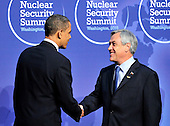 United States President Barack Obama welcomes President Sebastián Piñera of Chile to  the Nuclear Security Summit at the Washington Convention Center, Monday, April 12, 2010 in Washington, DC. .Credit: Ron Sachs / Pool via CNP
