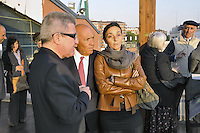 - Milan, the house-builder Salvatore Ligresti with with her daughter Jonella and architect Daniel Libeskind visiting site of the new building compound CityLife<br /> <br /> - Milano, il costruttore Salvatore Ligresti con l'architetto Daniel Libeskind e la figlia Jonella in visita al cantiere del nuovo complesso edilizio CityLife