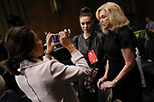 WASHINGTON, DC - SEPTEMBER 27:  Rep. Carolyn Maloney (D-NY) (R) and actress and sexual assault survivor Alyssa Milano are interviewed in the hearing room where Christine Blasey Ford will testify before the Senate Judiciary Committee in the Dirksen Senate Office Building on Capitol Hill September 27, 2018 in Washington, DC. A professor at Palo Alto University and a research psychologist at the Stanford University School of Medicine, Ford has accused Supreme Court nominee Judge Brett Kavanaugh of sexually assaulting her during a party in 1982 when they were high school students in suburban Maryland.  (Photo by Win McNamee/Getty Images)