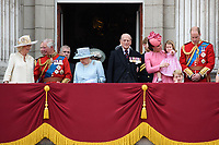 Camilla, Duchess of Cornwall; Prince Charles, Prince of Wales; Prince Andrew, Duke of York; HM Queen Elizabeth II &amp; Prince Philip, Duke of Edinburgh; Catherine, Duchess of Cambridge; Princess Charlotte; Prince George &amp; Prince William, Duke of Cambridge on the balcony of Buckingham Palace following the Trooping of the Colour Ceremony celebrating the Queen's official birthday. London, UK. <br /> 17 June  2017<br /> Picture: Steve Vas/Featureflash/SilverHub 0208 004 5359 sales@silverhubmedia.com