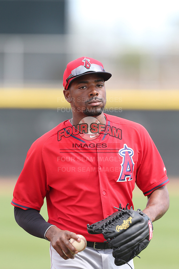 Quentin Davis #7 of the Los Angeles Angels during a Minor League Spring Training Game against the Chicago Cubs at the Los Angeles Angels Spring Training Complex on March 23, 2014 in Tempe, Arizona. (Larry Goren/Four Seam Images)