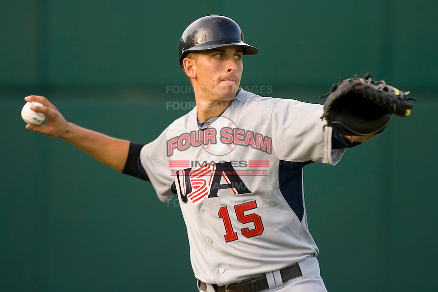 Catcher Jason Castro #15 of Team USA warms up in the outfield prior to playing against Team Canada at the USA Baseball National Training Center, September 4, 2009 in Cary, North Carolina.  (Photo by Brian Westerholt / Four Seam Images)