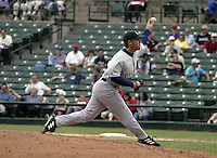 June 22, 2004:  Dave Sanders of the Charlotte Knights, International League (AAA) affiliate of the Chicago White Sox, during a game at Frontier Field in Rochester, NY.  Photo by:  Mike Janes/Four Seam Images
