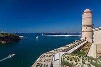 France, Bouches-du-Rhône (13), Marseille, capitale européenne de la culture 2013, Fort Saint Jean, entrée du Vieux Port // France, Bouches du Rhone, Marseille, european capital of culture 2013, Fort Saint Jean, entrance of Vieux Port (old harbour)