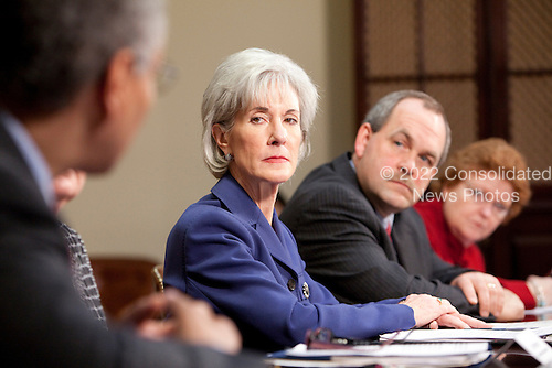 United States Secretary of Health and Human Services (HHS) Kathleen Sebelius, second from right, meets with insurance company executives and officials including Ronald A. Williams, president and chief executive officer of Aetna, Joel Ario, Pennsylvania insurance commissioner, and Jane L. Cline, West Virginia insurance commissioner, from left, at the White House in Washington, D.C., U.S., on Thursday, March 4, 2010..Credit: Brendan Hoffman / Pool via CNP