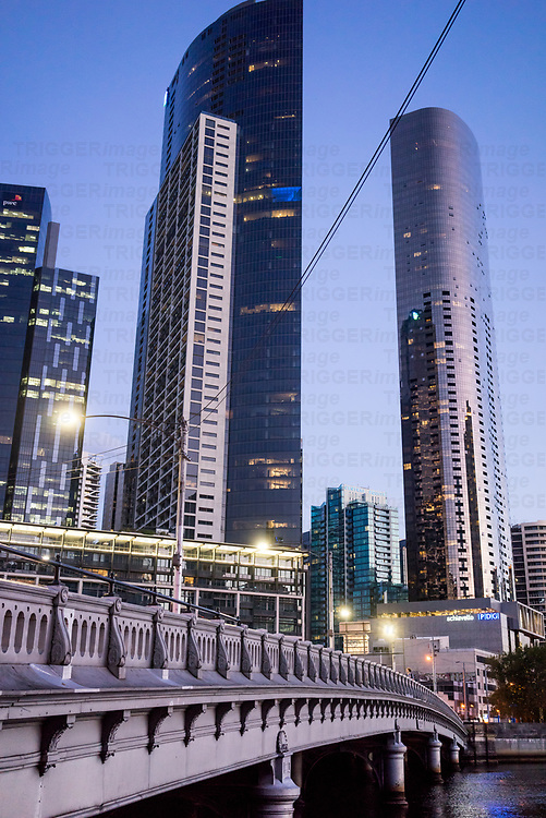 Highrise building beside the river Yarra in Melbourne Australia