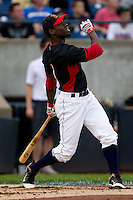 Travis Witherspoon (2) of the Cedar Rapids Kernels follows through on his swing during the Midwest League All-Star Home Run Derby at Modern Woodmen Park on June 20, 2011 in Davenport, Iowa. (David Welker / Four Seam Images)