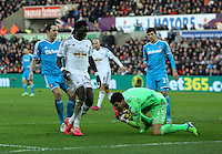 SWANSEA, WALES - FEBRUARY 07: Costel Pantilimon of Sunderland grabs the ball before it gets to Bafetimbi Gomis of Swansea during the Premier League match between Swansea City and Sunderland AFC at Liberty Stadium on February 7, 2015 in Swansea, Wales.