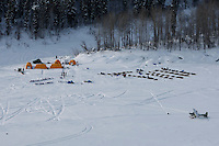 An aerial view of the Eagle Island checkpoint in the Yukon River taken on Saturday afternoon.  Eagle Island is a remote tent checkpoint.  Iditarod 2009