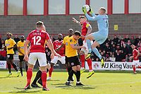 Elliot Justham of Dagenham and Redbridge denies Jack King of Ebbsfleet during Ebbsfleet United vs Dagenham & Redbridge, Vanarama National League Football at The Kuflink Stadium on 13th April 2019