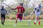 Los Angeles, CA 04/01/16 - Peter Hollen (USC #11) and Austin Gay (Loyola Marymount #27) in action during the University of Southern California and Loyola Marymount University SLC conference game  USC defeated LMU.