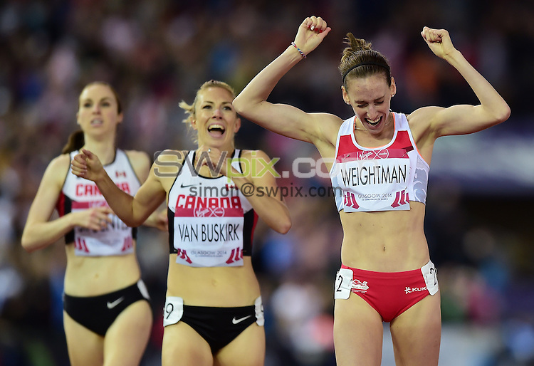 Picture by Alex Broadway/SWpix.com - 29/07/2014 - 2014 Glasgow Commonwealth Games, Day 6 - Athletics - Hampden Park, Glasgow, Scotland - Laura Weightman of England celebrates her Silver medal in the Women's 1500m Final.