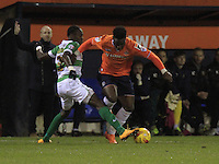 Pelly Ruddock of Luton Town gets disposed of the ball during the Sky Bet League 2 match between Luton Town and Yeovil Town at Kenilworth Road, Luton, England on 2 February 2016. Photo by Liam Smith.